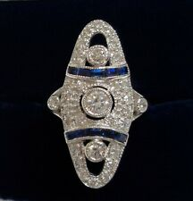 (18ct) White Gold - Art Deco Style Vintage Diamond and Sapphire Panel Ring 750