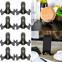 8PCS High Quality Finished Black Wooden Plate Easel Display Holder Stand TOS