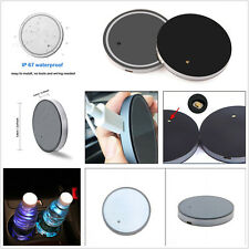 2 Pcs Car Cup Holder Bottom Pad Mat Cover with 7 Color LED Light IP67 Waterproof