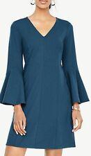 Ann Taylor Sz M Tall V-Neck Bell Sleeve Dress Teal Moss Blue NWT