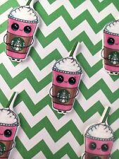 5pc. Kawaii Strawberry, Starbucks Frappuccino, Cabochon, planar, scrapbooking,