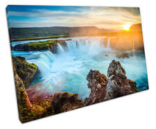 ICELAND WATERFALL CANVAS WALL ART PICTURE LARGE 75 X 50 CM