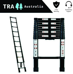 BLACK Portable Telescopic Ladder 3.2 m & Carry Bag Caravan RV Parts