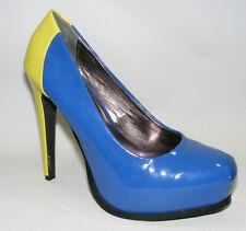 Simply Vera Wang Women Shoes 6 M Blue Yellow Platform Heels Dress Closed Toe