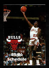 1985-86 Chicago Bulls' Schedule Michael Jordan (Pre-Rookie)