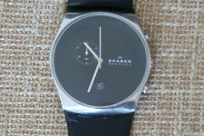 SKAGEN SKW6070 HAVENE MENS CHRONOGRAPH WATCH BLACK DIAL LEATHER STRAP A CLASSIC