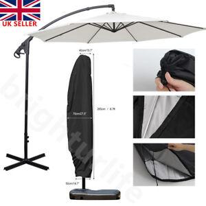 265cm Cantilever Parasol Banana Umbrella Waterproof Zip Tie Cover Outdoor Garden