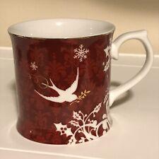 Starbucks 2010 Holiday Edition Coffee Mug Rosanna Red Gold w/ White Doves
