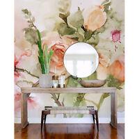 Tapete aus Vlies Buntes Aquarell Rosengarten Blumen Abstrakt Natur Dekoration