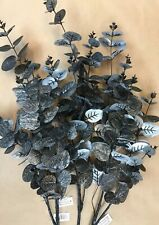 Artificial Greenery - 3 X Black And Silver Eucalyptus Stems Leaves