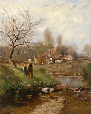 Art Oil painting children with duck and Little Ducks in spring view handpainted