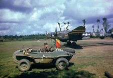 COLOR  WW2 Photo WWII P-38 France 1944 Schwimmagen World War Two WWII