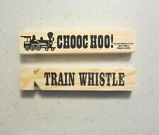 "3 NEW WOODEN TRAIN WHISTLES 5"" WOOD RAILROAD STEAM LOCOMOTIVE WHISTLE CHOO CHOO"