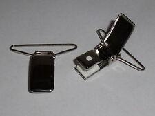 1 Paar Hosenträgerclips Clips Verschluss  silber  35 mm NEUWARE