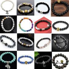 Unisex Lava Rock Beads Elastic Natural Stone Agate Bracelet Buddha Lion Bangle