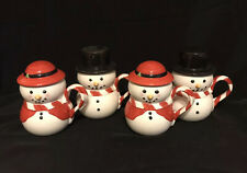Williams Sonoma Snowman & Snowmaid Set Of 4 Mugs With Hats (lids)