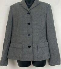 Ann Taylor Loft Womens Blazer Tweed Print Black White Wool Blend Button Jacket M