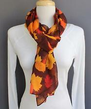 "Autumn Leaves scarf Pumpkin Leaf Brown Orange super long 72"" gauze scarf"