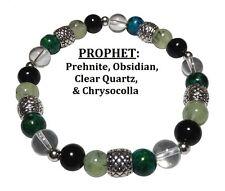 Prophet Obsidian, Chrysocolla, Prehnite, & Clear Quartz Stretch Bracelet Free SH