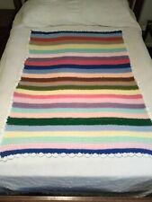 Multi Colored Striped w/White Edge Hand Crocheted Afghan/Throw/ Lap 57 X 42