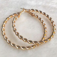 Women's Fashion Jewelry Gold Plated Twist Big Round Circle Dangle Hoop Earrings