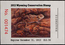 WYOMING 30 2013 STATE DUCK STAMP SHORT HORNED LIZARD By Karla Mann