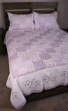 King Quilt Set Patchwork Lavender Blossom Cotton Cottage