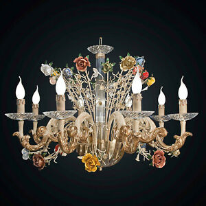 Chandelier Classic Crystal and Wood Spring 8 Lights Bga 1946-8