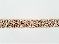 "19"" LONG Wedding Sash Belt - ROSE GOLD CLEAR CRYSTAL SASH BELT = 19 "" long"