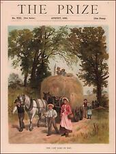 LAST Wagon Load of Hay, antique chromolithograph, original 1890