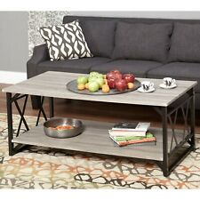 Coffee Table Rectangular  Metal Frame Grey Wood Shelf Living Room Furniture New