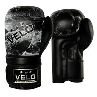 VELO Boxing Gloves Fight Sparring Pads Punch Bag MMA Training Muay Thai Black