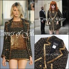 Chanel Black GOLD Tweed Ribbon Fantasy Long Jacket Blazer Coat Size FR38 US4 6