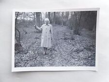 1950s B/W Photograph. Smiling Lady in the Winter Woods. Bare Trees. Ghost Figure
