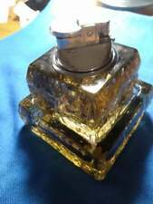 Table Lighter - Gray Smoky Quartz UNICON Ice Cube Glass Base/Matching Ashtray