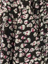 Black Skull Print Polyester Georgette Fabric Material Soft Drapey Goth Halloween