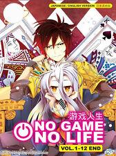 DVD Anime No Game No Life ( Vol.1-12 End ) English Version + Free Shipping