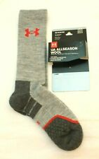 UA Allseason Wool Size 9-12.5 Graphite / Gray / Red Men's Boot Socks RETAIL $20
