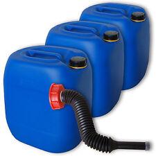 3 Stück 30 Liter Kanister Camping blau Plastikdeckel Ausgießer flexibel lang