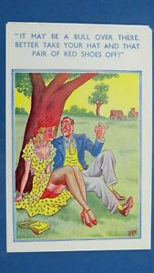 Risque Comic Postcard 1940s Long Legs Red Hat Knickers Nylons Stockings Bull