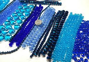 Bulk Lot 5 lbs BLUE CRYSTAL Beads for DIY Beading Mix Size Heart Beads Glass