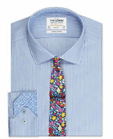 T.M.Lewin Mens  Slim Fit Blue Stripe with Mosaic Trim Button Cuff Shirt