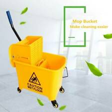 5 Gallon Mop Bucket w/Wringer Combo 20L Commercial Rolling Cleaning Cart Yellow
