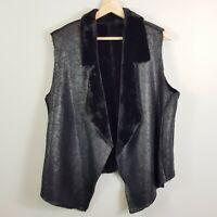 [ Faux Sherpa ] Womens Black Sleeveless Jacket  | Size AU 14 or US 10