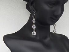 14kt White Gold Dangling Earrings, Graduated Round Shape CZ, Classy & Dressy