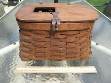 VINTAGE WICKER FLY FISHING CREEL BASKET WOOD TOP ANTIQUE UNKNOWN MAKER WOW