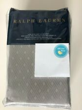 RALPH LAUREN KING Fitted Sheet BEDFORD Jacquard  Grey Dawn Cotton 400TC New