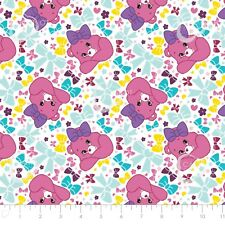 Care Bear Sparkle & Shine - Pretty Bow in White Cotton Fabric By The Yard