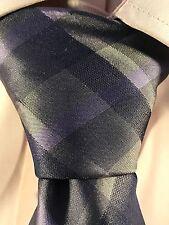 Men's Calvin Klein Silk Purple Black and Grey Plaid Neck Tie