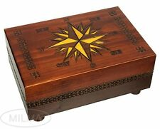Cartography Box Polish Handmade Linden Wood Compass Rose Secret Opening Box